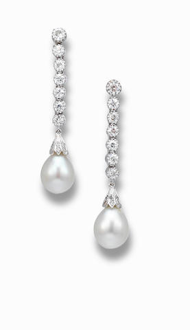 A pair of natural pearl and diamond pendant earrings