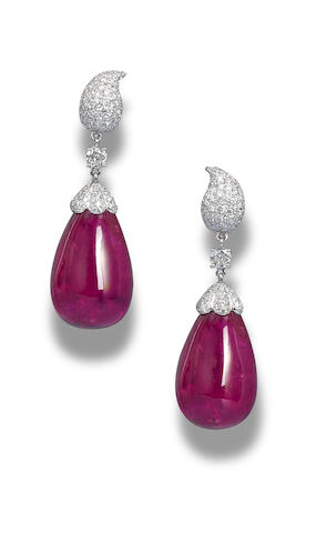 A pair of rubellite and diamond earrings