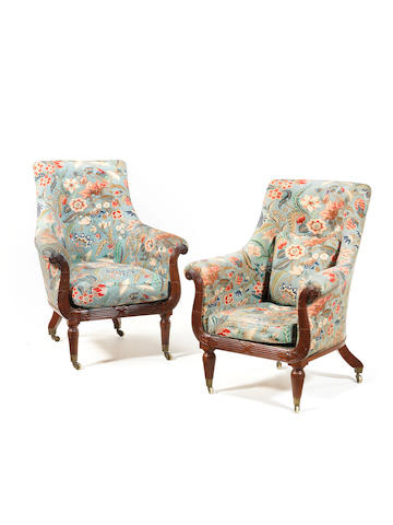 A large pair of matched Charles X mahogany bergère armchairs in le goût anglais, one chair by E.O.Barreau