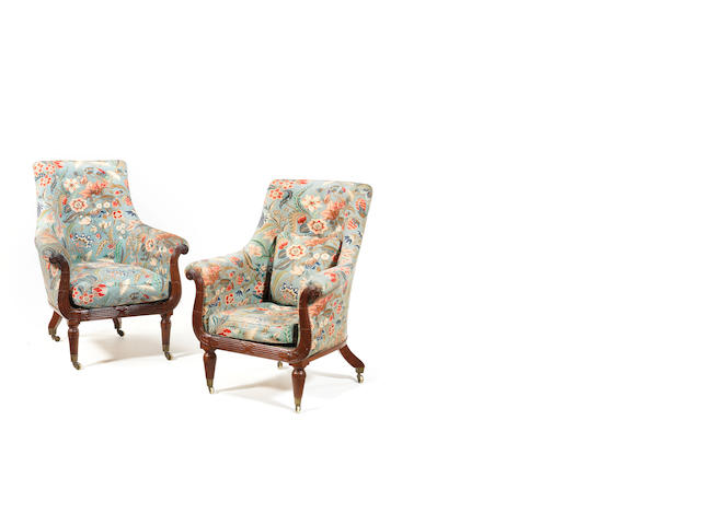A large pair of matched Charles X mahogany bergere armchairs in le gout anglais, one chair stamped Varreau