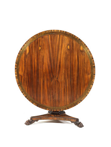 A George IV goncalo alves and brass marquetry breakfast table