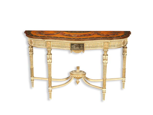 A 19th century satinwood and painted and parcel-gilt side table possibly by Wright and Mansfield