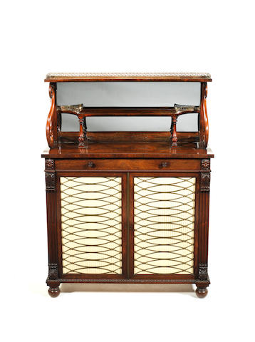 A George IV carved rosewood chiffonier  attributed to Gillows