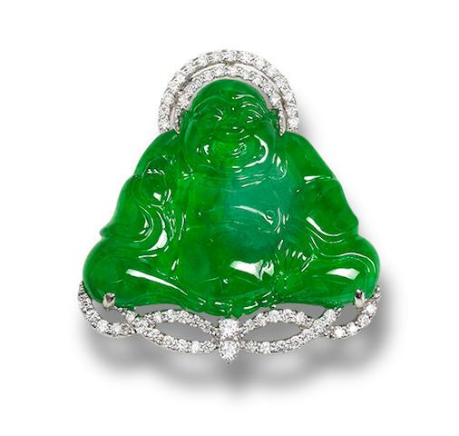 A jadeite and diamond pendant
