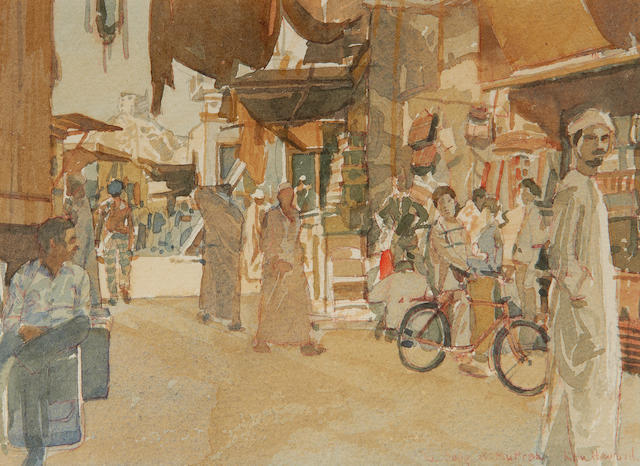 Ken Howard R.A. (British, born 1932) 'The Souq at Muttrah, Oman'