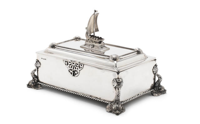 A silver casket by Walker & Hall, Sheffield 1927