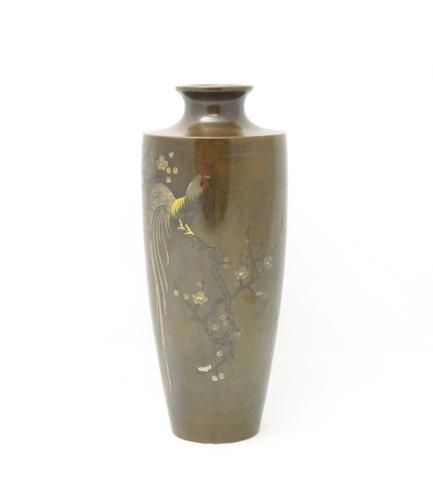 A bronze inlaid vase Meiji