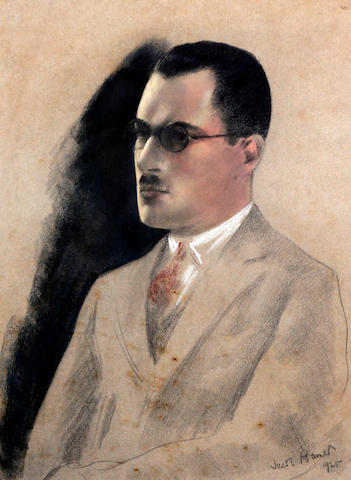 Jacob Kramer (British, 1892-1962) Portrait of a young man, half length, wearing a grey suit and red tie and spectacles