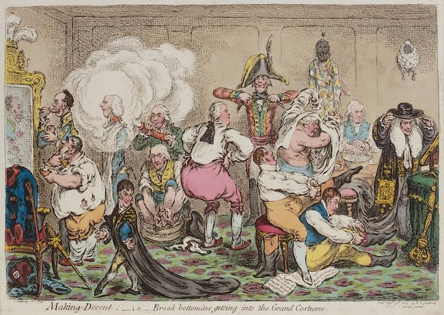 James Gillray (British, 1757-1815) Making Decent Etching with hand colouring, 1806, on wove, laid down onto a pale blue album page, published February 20th by H. Humphrey, London, 254 x 355mm (10 x 14in)(SH) unframed