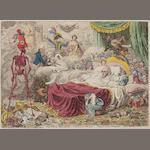 James Gillray (British, 1757-1815) Political-Dreamings!- Visions of Peace!-Perspective Horrors!  Etching with hand colouring, 1801 on wove, laid onto a pale blue album page, published November 9th by H.Humphrey, 262 x 365mm (10 1/4 x 14 1/4in)(SH) unframed