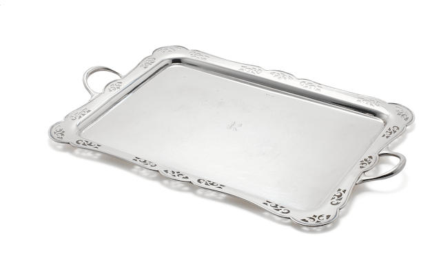 A silver two-handled tray by Harrison Bros & Howson, Sheffield 1920