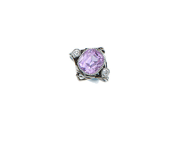 British an Arts and Crafts Pink Sapphire and Diamond Ring