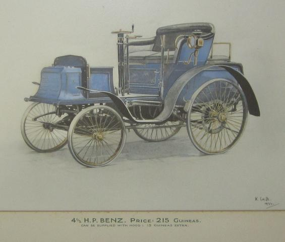A watercolour-tinted photograph of a 1902 4½ Hp Benz,