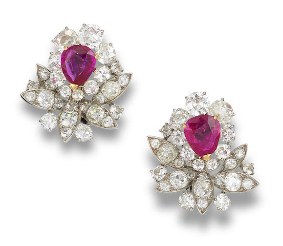 A pair of ruby and diamond ear clips, by Mauboussin