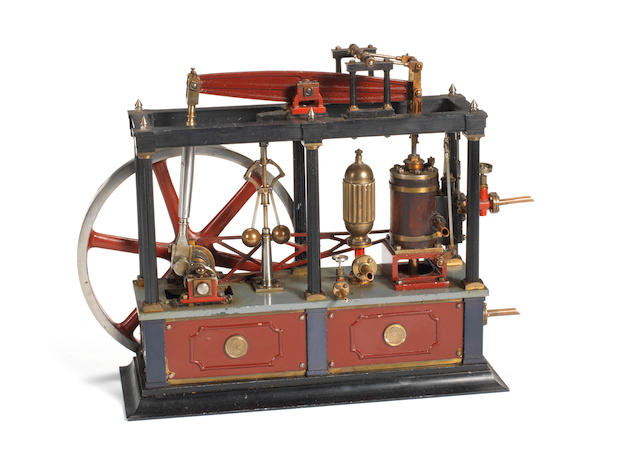 A finely engineered scratch built 1/10 scale live steam model of a Tubal Cain's Beam engine 'Lady Stephanie' Built by J.E Ginn 1980s