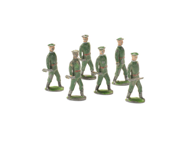 EXTREMELY RARE Britains small size Russian Infantry marching at the trail 6