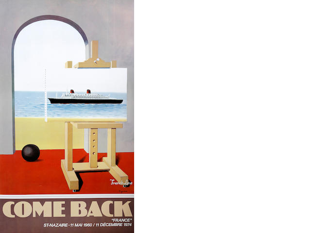 French School, Cigane R 'Come Back', a travel poster for the French Line