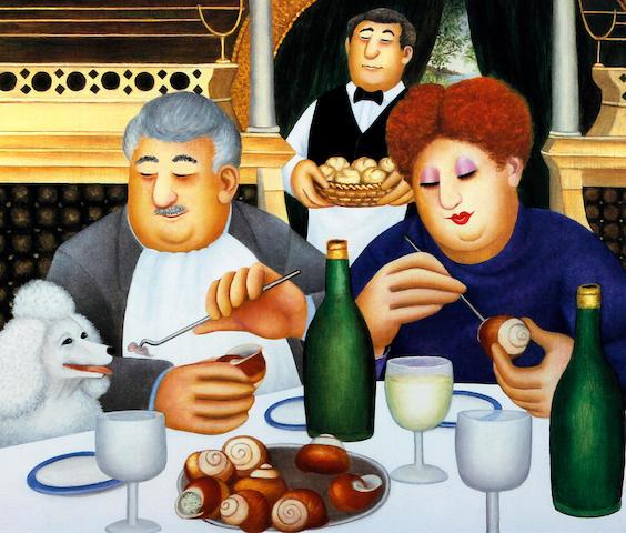 Beryl Cook (British, 1926-2008) 'Escargot pour trois'