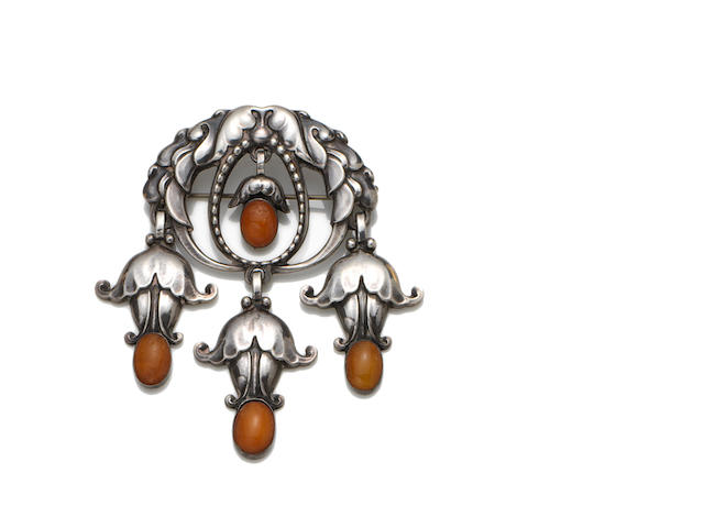Georg Jensen an Early Amber Brooch, circa 1912