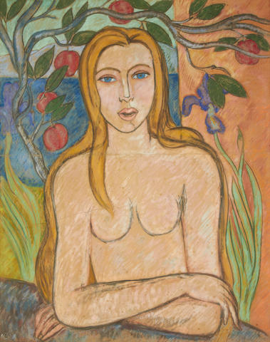Edward Wolfe (South African, 1897-1982) Nude with iris and apple tree
