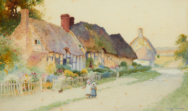 Arthur Claude Strachan (British, 1865-1938) Girls and ducks by thatched cottages, a pair (2)