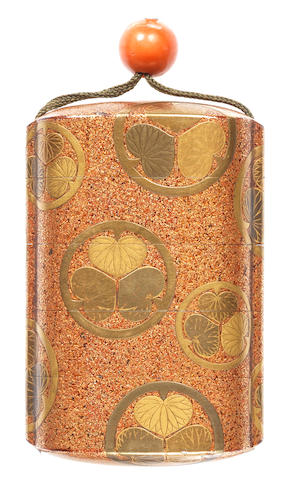 A gold lacquer four-case inro 18th/19th century