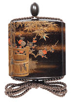 A roiro lacquer three-case inro By Koma Kyuhaku, 19th century