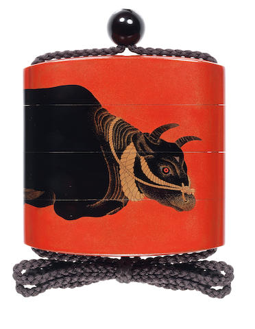 A red lacquer three-case inro By Shiomi Masanari, 19th century