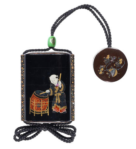 A Somada-style black lacquer three-case inro 19th century