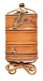 A rare lacquered-wood three-case inro By Kosai, 19th century