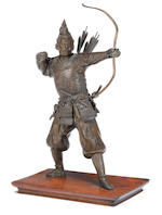 A bronze figure of an archer Meiji Period