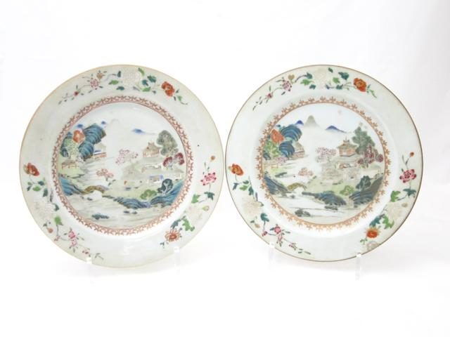 A pair of famille rose landscape plates 18th century