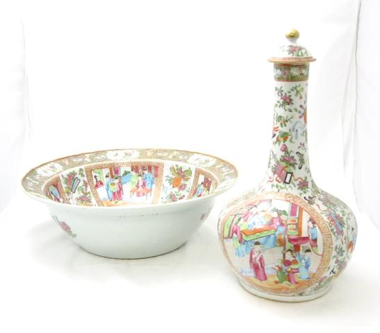 A Canton export famille rose wash basin and gurglet 19th century