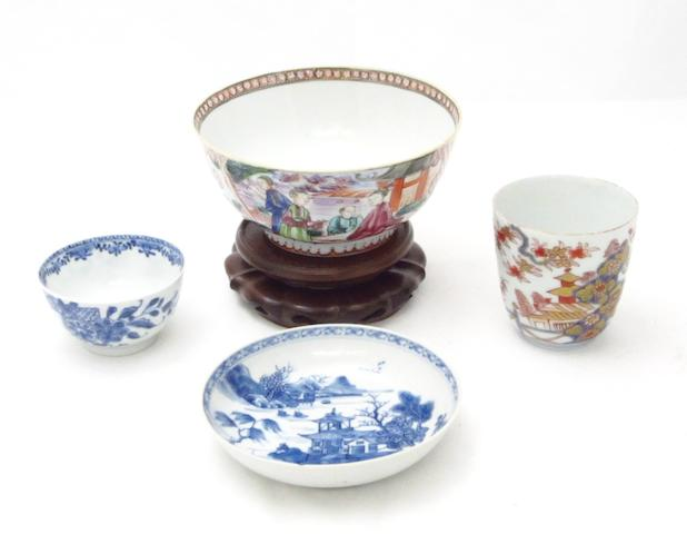 An Imari beaker, a Mandarin pattern bowl and a tea bowl and saucer 18th century