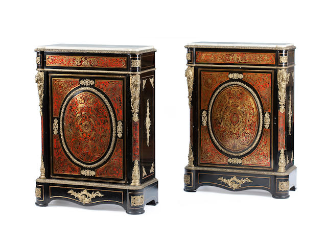 A pair of 19th century ormolu mounted and ebonised Boulle marquetry side cabinets