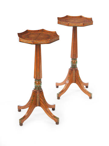 A pair of satinwood, rosewood cross-banded and line inlaid occasional tables, first half 20th century