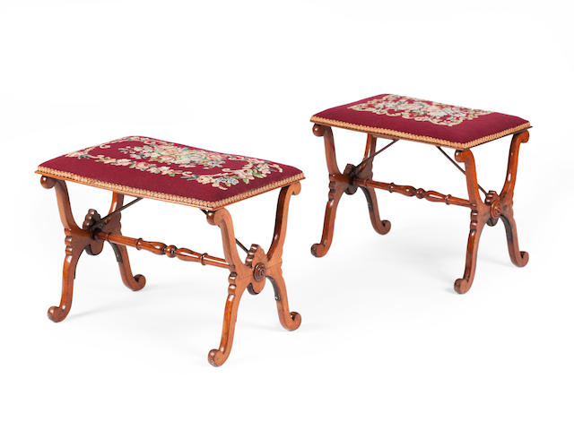 A near pair of 19th century rosewood x-framed stools