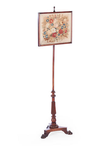 A Regency mahogany pole screen
