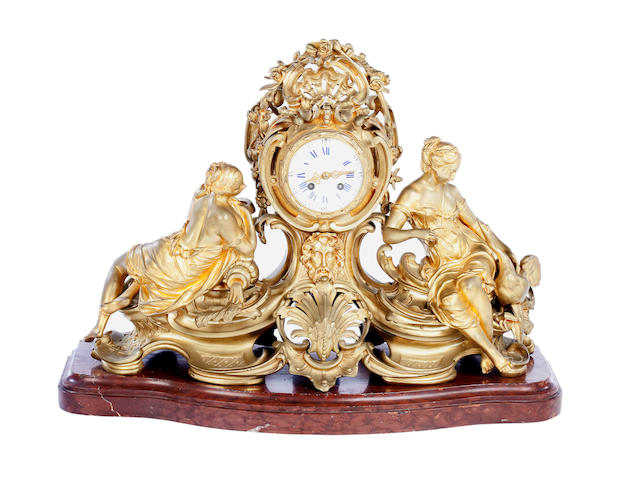 A French ormolu mantel clock By Lemerle Charpentier Cie., Paris