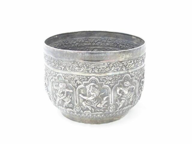 A Burmese silver jardinière 19th century