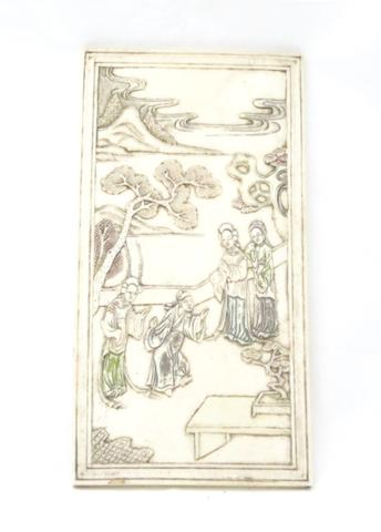 An ivory table screen panel