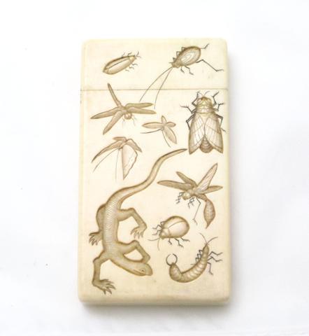 A carved ivory card case Meiji