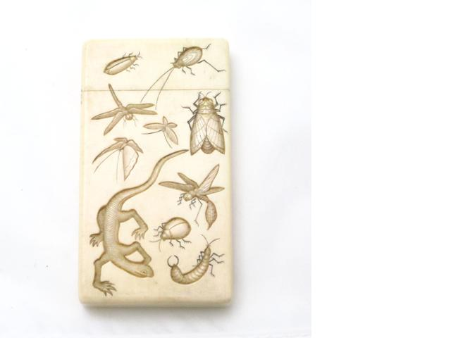 A carved ivory card case Meiji
