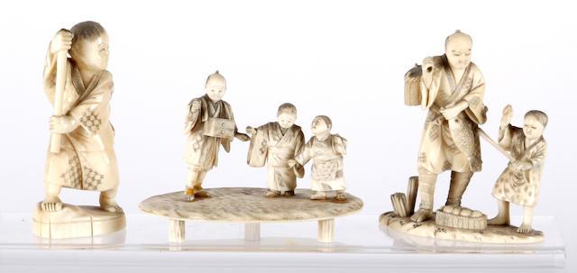 Three Japanese carved ivory okimonos