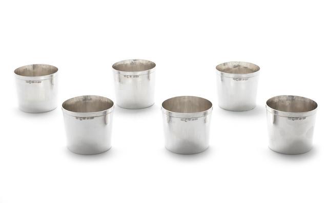 Six Italian metalware beakers by Brandimarte, post 1968 marks, Florence, stamped 1973, underside incuse stamped STERLING