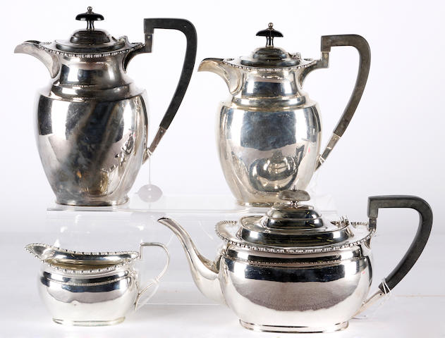 A silver four piece teaset