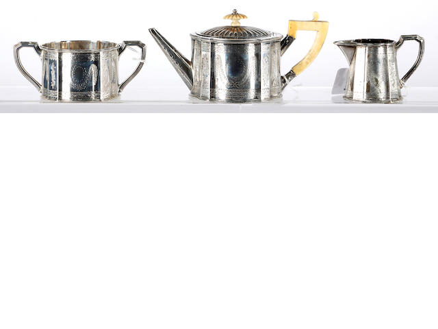 A Victorian bachelors silver three piece teaset,