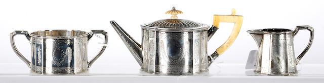 A Victorian bachelors silver three piece teaset,