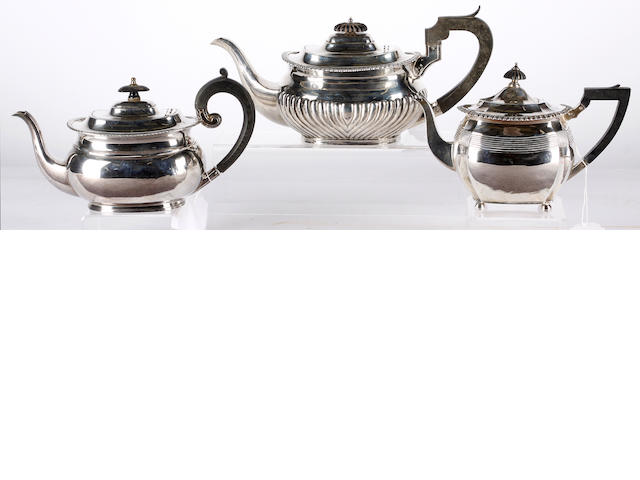 Three silver teapots, various dates and makers
