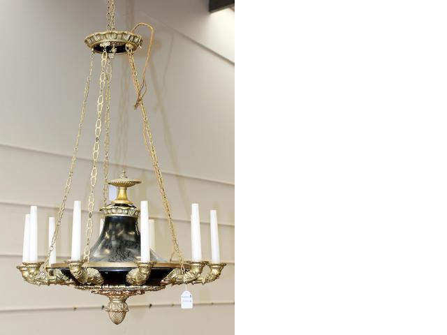 A French Empire ten branch gilt chandelier